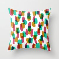 Painted and digital multi-brushstrokes Throw Pillow