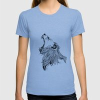 Growling Lion  Womens Fitted Tee Athletic Blue SMALL
