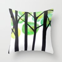 blacks trees Throw Pillow
