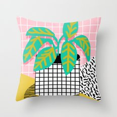 Get Real - potted plant throwback retro neon 1980s style art print minimal abstract grid lines shape Throw Pillow