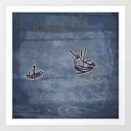 Tribal Boats In The Nigh… Art Print