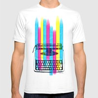 Typewriter Mens Fitted Tee White SMALL