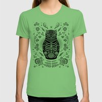 Owl Nesting Doll (Matryoshka) Womens Fitted Tee Grass SMALL