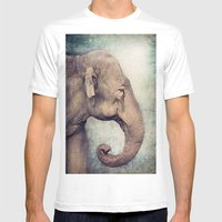 The Smiling Elephant Mens Fitted Tee White SMALL
