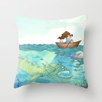 The Lake of Lurking Monsters Throw Pillow