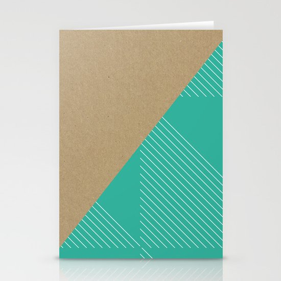 Cardboard & Aqua Stripes Stationery Card