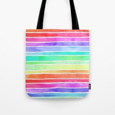 Bright Rainbow Colored Watercolor Paint Stripes Tote Bag