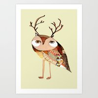 Owl Print, Owl Illustrat… Art Print