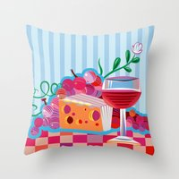 Wine & Cheese Party Throw Pillow