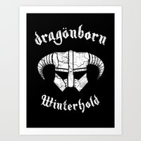 Dragonborn Helmet (Winterhold, Dovahkiin, Skyrim) Art Print