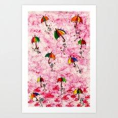 Dance in the Rain! Art Print