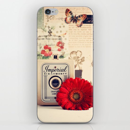 Retro Camera and Red Flower (Retro and Vintage Still Life Photography) iPhone & iPod Skin