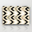 Black, White & Gold Glitter Herringbone Chevron on Nude Cream iPad Case