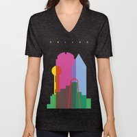 Shapes of Dallas. Accurate to scale. Unisex V-Neck