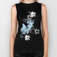 Summer blossom, brown and blue pattern Biker Tank
