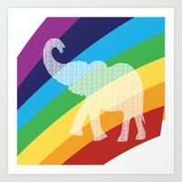 Rainbow With Floral Elep… Art Print