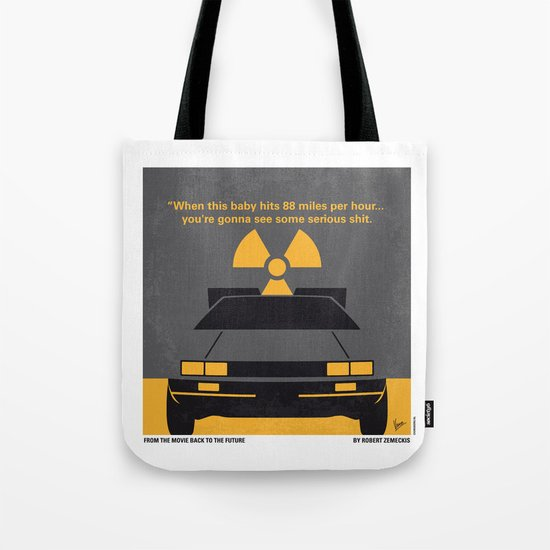 No183 My Back to the Future minimal movie poster Tote Bag