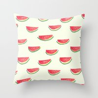 Watercolor Watermelon Throw Pillow