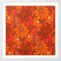 Vintage Floral Linen Fab… Art Print