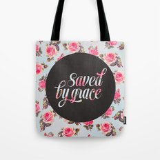 Saved by grace - floral Tote Bag