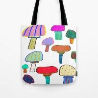 Mushrooms, mushroom print, mushroom art, illustration, design, pattern,  Tote Bag