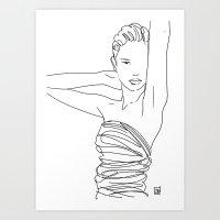 Line Art Lady Art Print
