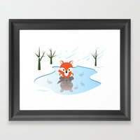 Little Fox On Ice Framed Art Print