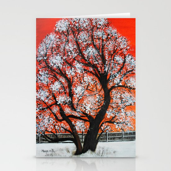 Snowy old tree Stationery Card