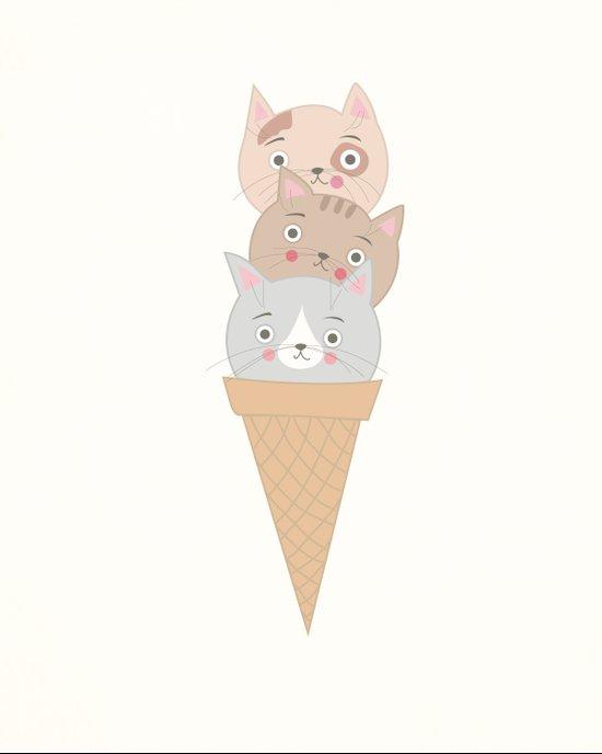 Triple Scoop Kittycone Art Print