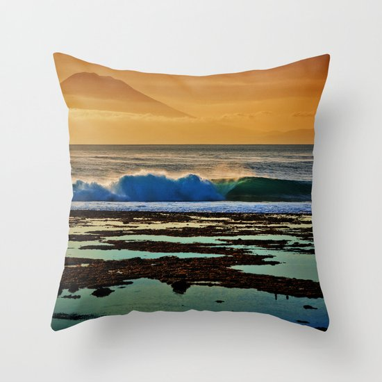 Indonesian Wave and Volcano Throw Pillow