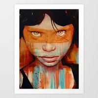 orange Art Prints featuring Pele by Michael Shapcott