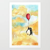 Penguin And A Red Balloo… Art Print