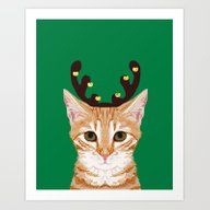 Tabby Cat Reindeer Costu… Art Print