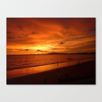 Scenic View Of Sea Against Orange Sky  during sunset in Thailand Canvas Print