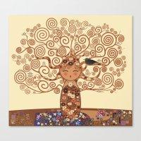 Kokeshi Tree of life Canvas Print