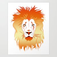 Fire Lion Art Print
