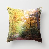 MM - Autumnally forest path Throw Pillow