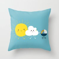 Throw Pillow featuring The weather family by Jean-Sébastien  Deheeger