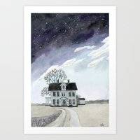 House Under The Starry S… Art Print