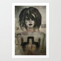 girl / cross Art Print