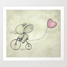 Cute Elephant riding his bike Art Print