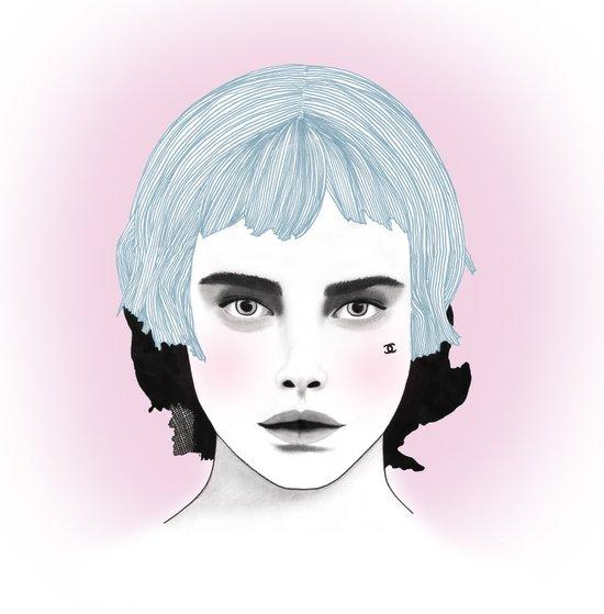 Fashion Illustration - Chanel Blue  Canvas Print