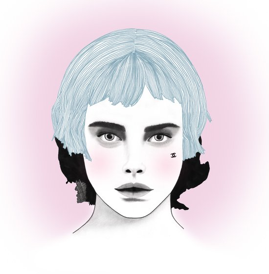 Fashion Illustration - Chanel Blue  Art Print