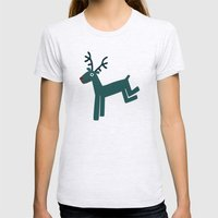 Reindeer-Teal Womens Fitted Tee Ash Grey SMALL