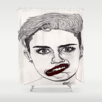 Miley with Red Lips Shower Curtain