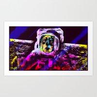 Astronaut On The Moon Art Print
