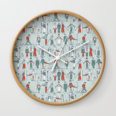 vintage ski linen Wall Clock