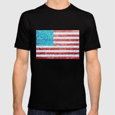 Red, White, and Glitter (Photo of Glitter) Black Mens Fitted Tee SMALL