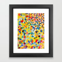 SWEPT AWAY 2 - Vibrant Colorful Rainbow Mango Yellow Waves Mermaid Splash Abstract Acrylic Painting Framed Art Print