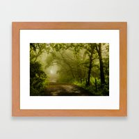 Misty Woodland Lane Framed Art Print